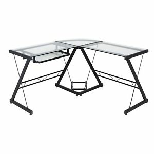 One Space 50 jn110500 Black And Clear Glass L shape Desk With Pull out Keyboard