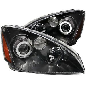 Pair Black Halo Projector Headlights Halogen Ver For 2002 2004 Nissan Altima