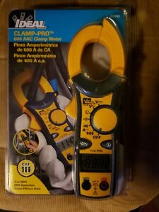New Ideal 61 746 600 Amp Clamp pro Clamp Meter With True Rms