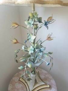 Italian Tole Vintage Floral Table Lamp Shabby Chic And Hollywood Regency