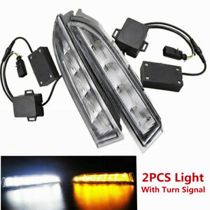 2x Led Daytime Running Light Drl Fog Turn Signal Lamp For Vw Scirocco R 2010 13