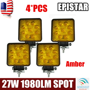 5d 4x 27w Spot Led Work Light Amber Fog Lamp Suv Jeep Offroad Boat Truck Square
