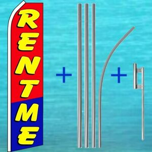 Rent Me Flutter Flag Pole Mount Kit Tall Curved Feather Swooper Banner Sign