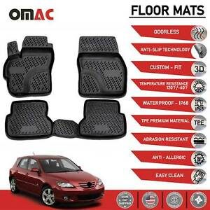 Floor Mats Liner 3d Molded Black Set Fits Mazda 3 2004 2010