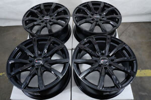 16 Wheels Integra Cobalt Escort Accord Civic Prelude Miata Black Rims 4x100
