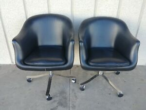 Three 1964 Nico Zographos Mid Century Modern Ch4 Leather Swivel Bucket Chairs