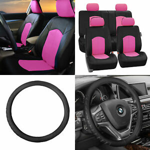 Perforated Leather Auto Seat Covers Pink Black W Leather Steering Wheel