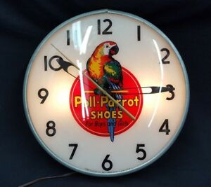 Vintage Pam Clock Company Poll parrot Shoes Round Electric Wall Clock