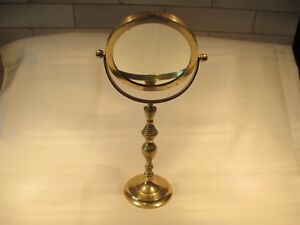 Vintage Table Top Vanity Make Up Mirror Double Sided Swivel Brass Gold
