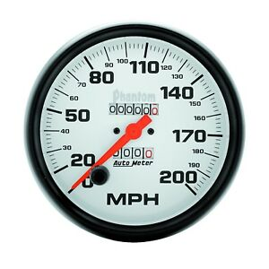 5896 Autometer Phantom 5in 0 200 Mph Mechanical Speedometer