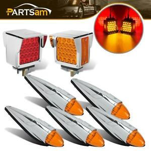 2x Stop Turn Tail Light 5x Amber Chrome Cab Marker Universal For Truck Trailer