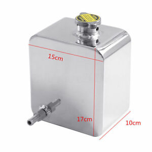 Universal Polished 2 5l Aluminum Radiator Coolant Overflow Recovery Tank Bottle