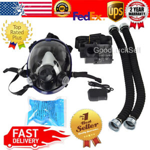Powered Supplied Full Face Fresh Air Fed Gas Respirator Mask Breathing System Us