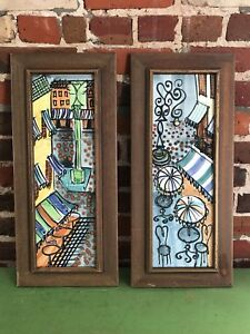 Mid Century High Fired Hand Painted Ceramic Tile Art