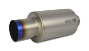17564 Vibrant Titanium Muffler W straight Cut Burnt Tip 3 5in Inlet 3 5in Outl