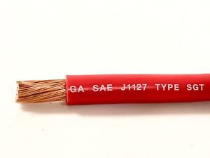 2 Gauge Battery Cable Red Sae J1127 Sgt Automotive Power Wire Sold Per Foot