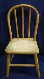 Antique Solid Wood Oak Bentwood Childs Chair