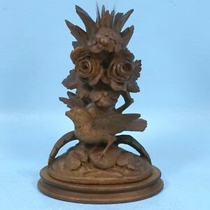 Antique Swiss Black Forest Wood Carving Vase Candlestick Rose Flower Bird Brienz