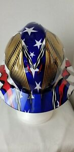 Msa Full Brim Flag Patriotic Hard Hat With Usa Flag And 2 Eagles