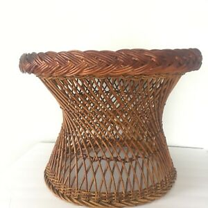 Vtg Rattan Bielecky Brothers Round Brown Coffee Side Table Bohemiam Beach House