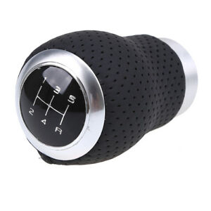 Us 5 Speed Leather Gear Stick Shift Knob Shifter Head For Universal Manual Car