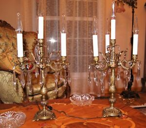 2 Ea Vtg French Spain Cast Brass Lamps Candelabras Crystal Chandeliers Fixtures