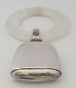 Vtg Sterling Silver Mop Mother Of Pearl Baby Rattle Teething Ring No Monogram