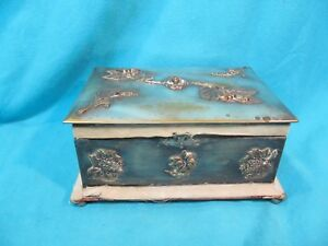 Antique Art Nouveau Footed Repousse Silver Plate Wood Box Stamp On Bottom