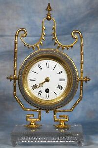 Antique French Baccarat Crystal Carriage Clock 19th Century
