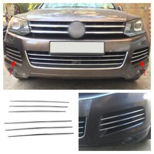 Chrome Steel Car Front Bumper Lower Grille Cover Trim For Vw Touareg 2011 2015