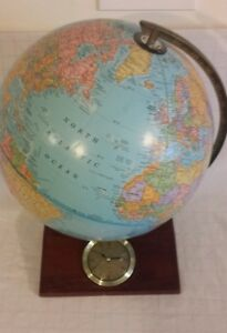 Crams Imperial World Globe 12 Wood Base With Clock