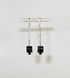 Dainty Vtg Art Deco Stepped Black Glass Drop Earrings
