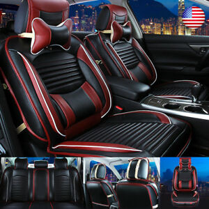 13pcs Car 5 Seat Covers Luxury Leather Front Rear Seat Cushion Mat Full Pillow