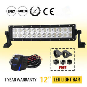 648w 12inch Led Work Light Bar Dual Row Spot Flood Driving Lamp Brackets Kit
