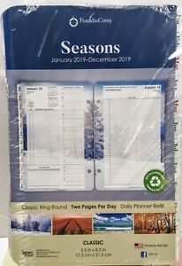 Franklin Covey Daily Planner Refills seasons 2019 2 Pages day 68670