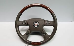 2003 2006 Cadillac Escalade Oem Leather Woodgrain Steering Wheel