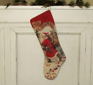 Primitive Bethany Lowe Belsnickle Santa Claus Christmas 21 Canvas Stocking