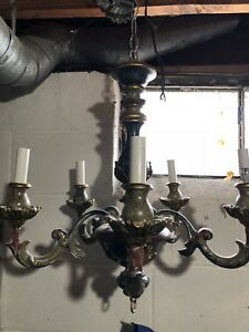 18th C Spanish Chandelier 4 Light All Wood Light Fixture Flower Wood Carving