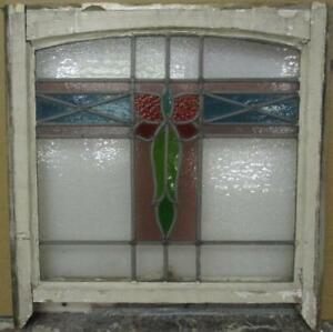 Edwardian English Leaded Stained Glass Sash Window Arch Top Cross 22 X 20 75