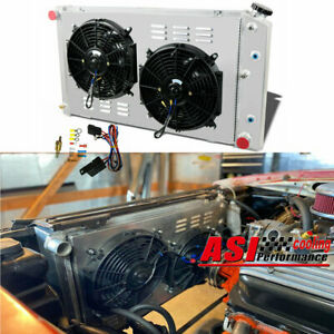 3 Row Aluminum Radiator Shroud Fan For 78 87 Chevy Monte Carlo Camaro C10 C20
