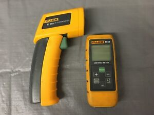 Used Fluke 411d Distance Meter With Fluke 62 Mini Infrared Thermometer