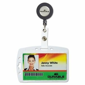 Durable Shell style Id Card Holder Vertical horizontal With Reel Clear 10 pack