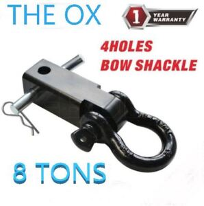 The Ox Trailer Hitch Shackle Bracket 2 Receiver 8ton 1 Inch Recovery D ring