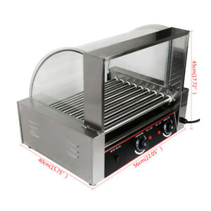 Commercial 24 Hotdog Hot Dog 9 Roller Grill Cooker Machine W cover Ce Xmas Party