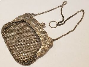 1900 Gorham Sterling Silver Victorian Chain Mesh Purse Dragon Design