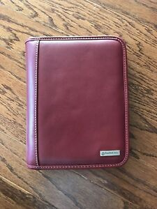 Franklin Covey Planner Organizer Address Book 7 Ring Binder Full Zip Red Leather