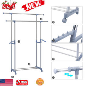 Double Adjustable Clothes Hanger Rolling Garment Rack W shoe Rack Heavy Duty New