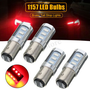 4x Red 1157 Led Bulbs Flashing Strobe Blinking Tail Stop Brake Lights Lamp Us