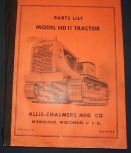 Allis Chalmers Hd 11 Crawler Tractor Dozer Bulldozer Parts Manual Book Catalog