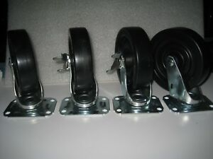 Lot Of 4 E r Wagner 5 Inch X 1 1 4 Inch Swivel Casters Top Plate Mount New
